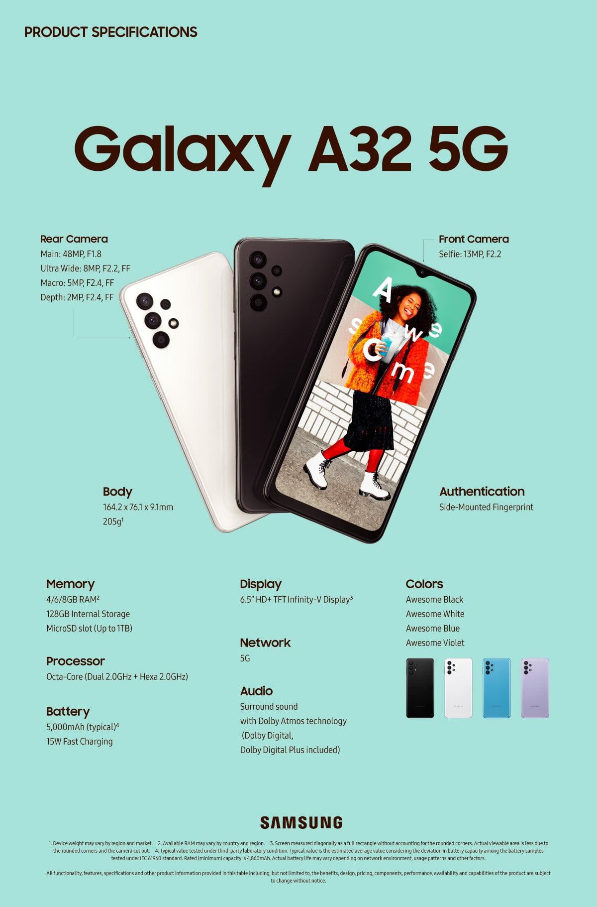 رونمایی از گوشی گلکسی A32؛ ارزانترین گوشی 5G سامسونگ