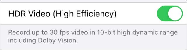 در نهایت HDR Video (High Efficiency) را فعال کنید.